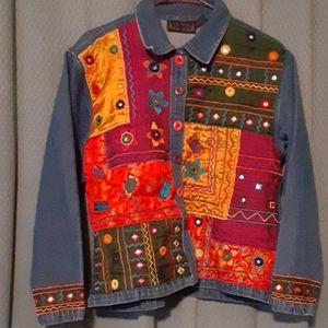 Jackets & Blazers - Vintage  Boho Embellished Denim Jacket/Sm